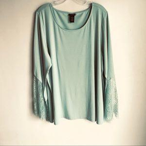 Torrid Green Top Lace Sleeves Scoop Neckline